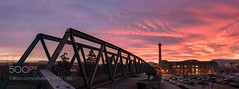 El Sucre is on Fire (SeattleHVAC172) Tags: sky landscape sunset water travel clouds europe cars bridge building nikon catalonia spain dawn panoramic tamron parking scenic catalunya afterglow fiery osona 1530 first lights no person d750