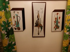 Got these last week at trader jacks, love them!!!! (talulahgosh) Tags: vintage retro pittsburgh swissvale curtain wall art decorate musical instrument banjo viola violin cello leaf leaves tower kovac sketch sunflower awesome