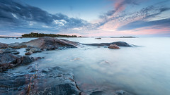 Summertime Blues (Mika Laitinen) Tags: balticsea canon5dmarkiv europe finland helsinki kallahdenniemi kallvik leefilters vuosaari beach cliff cloud colorful landscape longexposure nature ocean outdoor rock sea seascape shore sky summer sunset water