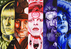 5 Front men of Glam Rock, Acrylic Painting 2017 (malacandramarie) Tags: brianconnolly thesweet noddyholder slade davidbowie ziggystardust roywood wizzard marcbolan trex 70s glam glamrock painting