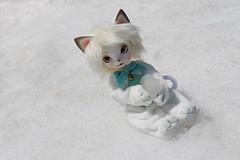 On Mt Zao, Japan (Damasquerade) Tags: bjd dearmine rey snow balljointdoll cat smiling doll smile kigurumi japan mtzao tohoku anthro