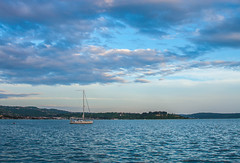 Resting in Peace (gabi_halla) Tags: sea sky boat water ship outdoor landscape clouds cloudy cloud sunset waves slovenia beach hiking wet blue light peaceful summer new