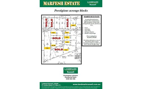 * Marfesh Estate (Singleton Drive), Cobar NSW