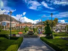 The plaza des armas in Huamachuco, Peru.