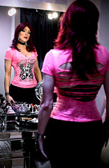Reflection in the mirror: pink top (Juliapanther Over 39 million views, thanks!!!) Tags: julia panther juliapanther tgirl posing mirror reflection pibk top goth gothic makeup makeover red hair redhead lipstick lips pink glamour portrait cindy conti diva pinup marylin
