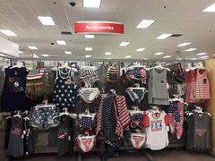 Americana (Wonderlane) Tags: 20170529200623 americana 2017 red white andblue blue redwhiteblue colors american flag stars stripes kiss usa tshirts bikinis shirts shawl shorts summer pack fannypack americanflag clothings clothing display olympia washington target
