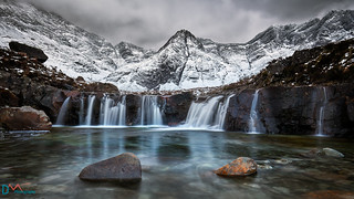 Snow at the Fairy Pools Waterfalls