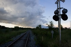 Down the Line (Brad_McKay) Tags: ifttt 500px sky landscape travel light guidance train tree road railway canon station track outdoors electricity daylight engine semaphore no person canada ontario railroad transportation system