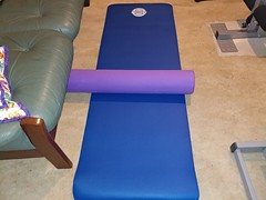 21Jun17 A new thing for the home gym.  My first foam roller. (I've had the mat for several years now).  I tried it out and like the results on my hips. But… finally a legit reason to change into leggings when I do gym at home. Pockets and waistbands are k
