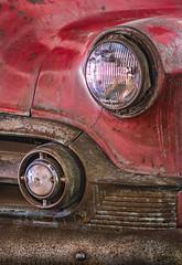 64 Year Old '53 Chevy (FotoGrazio) Tags: 1950s red waynegrazio waynesgrazio art automobile carbumper chrome contrast corrosion decay faded fallingapart fineart fotograzio headlight oxidation phototoart retro rust rusted rusting stilllife texture vintage