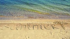 Inscription summer on sand. (daria.boteva) Tags: abstract background beach calendar celebration change christmas coast coastal coastline concept copy date day drawing future handwriting happy holiday inscription island merry message nature new number ocean sand sandy sea shore sign space summer sun sunny symbol text texture time travel tropical umbrella vacation water wave word written year