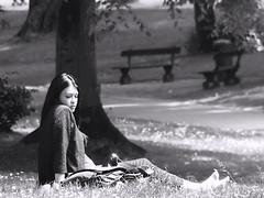 La boudeuse au parc (_ Adèle _) Tags: bruxelles parc elisabeth aprèsmidi soleil ombres arbres pelouse femme alanguie nb noiretblanc bw blackandwhite monochrome