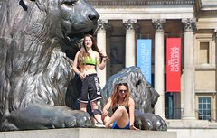 Lioness (Waterford_Man) Tags: hot abs bare shorts girl street candid summer people glasses