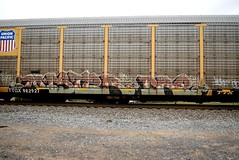 MISTER DRE (TheGraffitiHunters) Tags: graffiti graff spray paint street art colorful freight train tracks benching benched mister dre autoracks racks ribbet