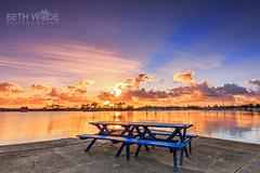 Sunrise Picnic (Beth Wode Photography) Tags: sunrise sunriseclouds reflections picnictable sunrays yamba nsw midnorthcoast beth wode bethwode clarence river