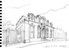 Lorient, vendredi soir en arrivant,  arrivant, l'Hôtel Gabriel (Croctoo) Tags: croctoo croquis croctoofr crayon lorient