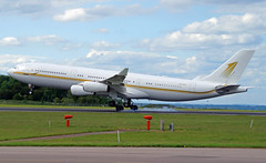 Sky Prime A340-212 HZ-SKY1. 03/06/17. (Cameron Gaines) Tags: lufthansaasdaibbonthe11thofmarch1993theaircraftwasnotusedbylufthansaandwasregisteredtotheroyalbruneigovernmentthenextdayasv8bkhtheaircraftwasreregisteredonthe28thofapril1996tov8jp1andonceaginreregistered theaircraftwasmodifiedtoaa340212theaircraftwastransferredtoalphastaronthe5thofjune2014theaircraftwasregisteredtoskyprimeinjanuary2016andregisteredhzsky1currentjune2017 cn 009 first flew toulouse blagnac 13th january 1993 fwwjb before being delivered lufthansa daibb sky prime airbus a340211 hzsky1 touching down east midlands bringing vips for champions league final cardiff 030617 aviation avgeek airliner airplane ema egnx nottingham leicestershire clouds trees runway taxiway touchdown saudia arabia government blue weather jcb a340 a340200