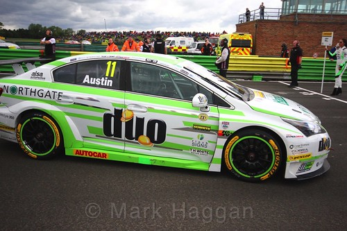 Rob Austin on the BTCC grid at Croft, June 2017