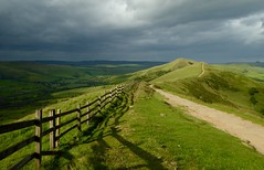 Sunshine and showers....(Explore 21.6.17) (Lindsey1611) Tags: highpeak view hiking hillwalking clouds walking summer hill footpath fence eveningsun evening stormy edalevalley castleton peakdistrict derbyshire losehill mamtor
