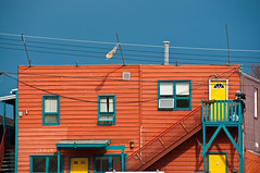 Yellowknife 3 (ValterB) Tags: yellowknife 2013 house houses abstract valterb nikond90 blue yellow urban urbanphotography street streetphotography nwt northwestterritories north northern landscape colors colour building architecture facade lines shadow tiles shapes geometrical