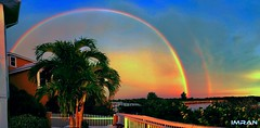 Massive Stunning Dual Rainbows Tampa Bay Florida - IMRAN™ (ImranAnwar) Tags: apollobeach architecture blessings boardwalk clouds florida homes imran imrananwar imranimrananwar iphone landscape lifestyle luxury magic nature palmtrees pastels rainbow seascape sunset tampabay