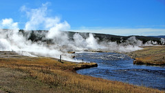 Firehole River Panorama (witajny) Tags: 2014 nature landscape yellowstonenationalpark river mountains thermalspring geyser fireholeriver wyoming valley grass water