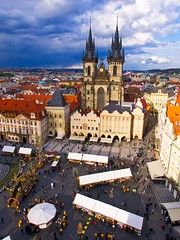Prague stole my heart (Jim Nix / Nomadic Pursuits) Tags: jimnix nomadicpursuits easterneurope europe czechrepublic prague oldtown oldtownsquare tynschurch church cathedral spire architecture panasonic lumix lx100 luminar macphun view cityscape cityview beautiful amazing goldenhour sunset