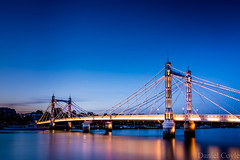 Albert Bridge (Daniel Coyle) Tags: albert bridge albertbridge thames river riverthames chelsea kensington kensingtonandchelsea london view bluehour chelseaflowershow water nikon nikond7100 d7100 danielcoyle reflections night nightshot nightphotography nightonearth londonnight londonbluehour dusk londondusk lights