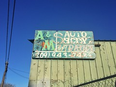 A&M Beautiful Decay (misterbigidea) Tags: sign painted handlettering decay patina mysterious business weathered typevstime urban city scenic generations autobody blue