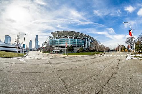March 2017 Clevelan Ohio - Cleveland Brouwns NFL stadium at daytime