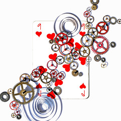 nine of hearts (brescia, italy) (bloodybee) Tags: 365project playingcards cards play game 9 nine heart wheel gear clock stilllife red white square