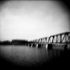 Tempe town lake (Anthony.Hopkins) Tags: blackandwhite long exposure 120mm 120 film holga bridge lake