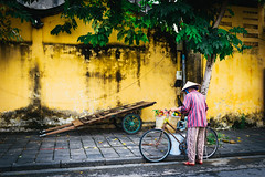 Streets of Hội An (_gate_) Tags: hoi an vietnam travel street hoian south east asia photography food nikon holiday urlaub strase night ship fast sigma 35mm 14 art portrait shot d750 november 2016 trip südost asien südostasien yellow wall woman fahrrad