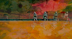 To love somebody / Artist : Mistero Hifeng (Bamboo Barnes - Artist.Com) Tags: secondlife misterohifeng art surreal woman figure pose umbrella water reflection rain red green yellow vivid photo painting digitalart virtualart bamboobarnes