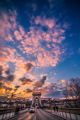 Sunset in Chain bridge (Vagelis Pikoulas) Tags: sun sunset chain bridge budapest hungary travel landscape city cityscape capital europe canon 6d tokina 1628mm vertical view 2016 street clouds cloudy cloud sky blue colour colours color colors january winter