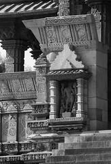The Alcove Shrine (peterkelly) Tags: bw digital india asia canon 6d khajuraho kamasutratemple sandstone stone building temple alcove shrine steps stairs carving decoration