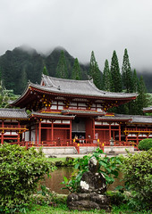 The temple (Rabican7) Tags: hawaii temple architecture island mountain asian clouds buddha statue red travelling