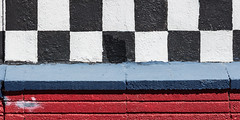 Finish line (A Different Perspective) Tags: arizona holbrook usa black blue box chequered motel red wall white