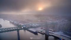 Boyne Viaduct in the fog (mythicalireland) Tags: fog mist sunset setting sun evening summer boyne viaduct railway drogheda louth river valley town ships port landscape