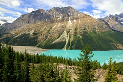 All the colors of Canadian Rocky Mountains (mark.paradox) Tags: canada rockymountains banffnationalpark peyto waputikrange bowsummit lake water mountains nature landscape forest blue travel green alberta beauty trees sky scenic clouds rockies view hiking amazing turquoise colors impression iconic place gorgeous wow brilliant
