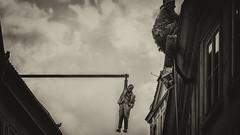 Man Hanging Out by David Cerny [BW] (emptyseas) Tags: stare mesto old town emptyseas nikon d800 prague czech republic