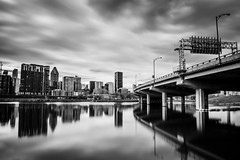 Bassin Peel (s.W.s.) Tags: reflections city water urban cityscape bridge blackandwhite montreal quebec neutraldensity canada lightroom nikon d3300 bassinpeel ndfilter longexposure daylight outdoor