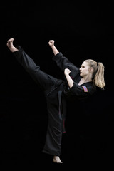 :: kickin' it :: (mjcollins photography) Tags: martial arts art young teen girl black belt taekwondo portrait kick