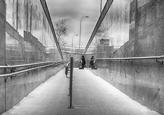 (Magdalena Roeseler) Tags: street strassenfotografie streetphotography reflexion travel alone woman geometry lines station candid olympus zuiko12mm bw blackandwhite monochrome