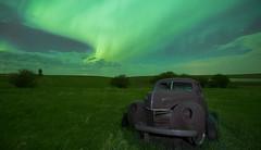 Under the lights (Len Langevin) Tags: aurora borealis northernlights abandoned old rusty car alberta canada night longexposure sky nikon d300s tokina 1116