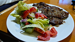 Steak and salad (Sandy Austin) Tags: panasoniclumixdmcfz70 sandyaustin massey westauckland auckland newzealand northisland steak airfryer cooking salad