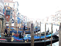 Pampering the gondolas... (Izzy's Curiosity Cabinet in Venice Mood) Tags: venise venice venezia venedig gondole gondola washing gondolier early morning tot le matin