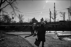 1m2_DSC0295 (dmitryzhkov) Tags: old oldwoman oldpeople station railway stop train two couple converse conversation track road day daylight sun sunlight sunshine sunday sunny shadow shine shadows light lights glare flare lensglare spot spots sunspot sundog motion movement walk walker walkers pedestrian pedestrians sidewalk woman women lady sony alpha black blackandwhite bw monochrome white bnw blacknwhite bnwstreet one three art city europe russia moscow documentary journalism street streets urban candid life streetlife citylife outdoor outdoors streetscene close scene streetshot