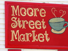 Moore Street Maret Sign. (dccradio) Tags: southport nc northcarolina brunswickcounty moorestreetmarket store building coffeecup steam teacup cup sign red white outdoors outside