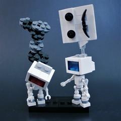 """Communication Breakdown"" (jgg3210) Tags: robot art statue communication breakdown vignette lego bricks moc emoji speech balloon smoke screen monitor tv"